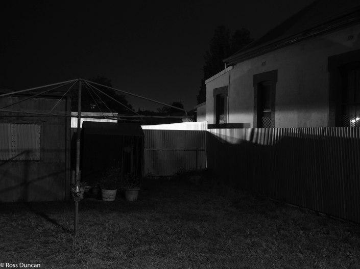 A backyard at night, Adelaide.