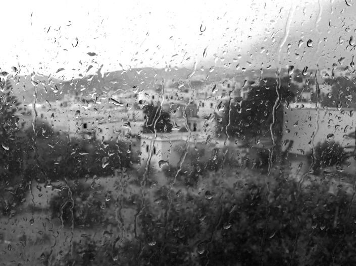Inside.  The wet weather on a visit to Paros Island in Greece kept us inside