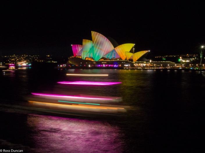 The money shot: Sydney Opera House goes psychedelic.