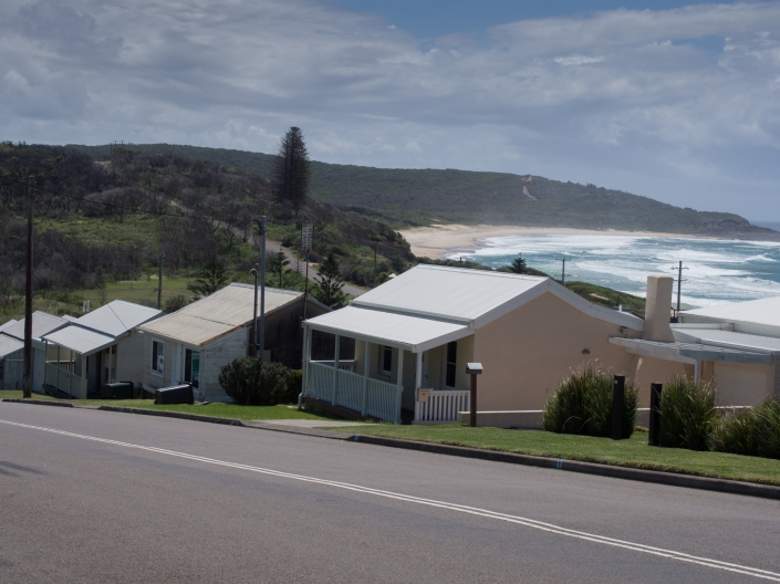 Views of Catherine Hill Bay cottages.